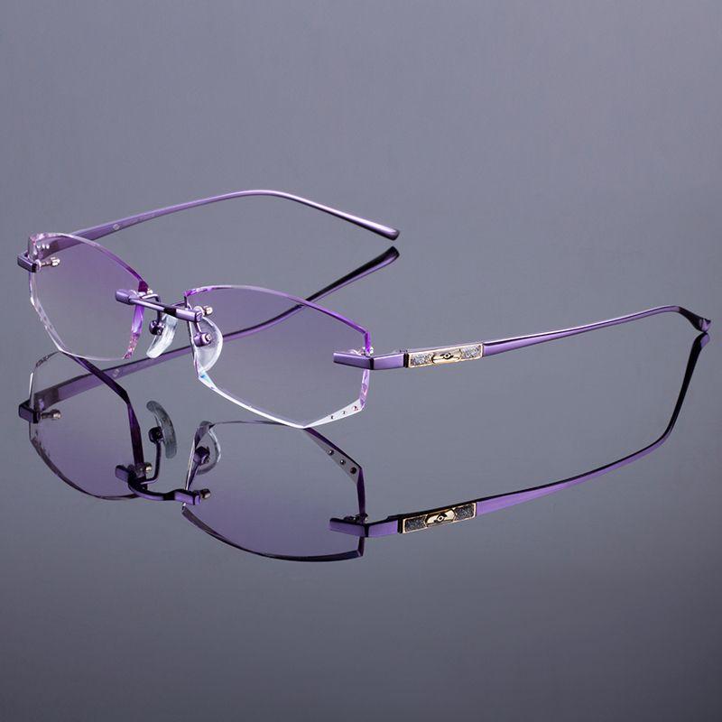 Toptan-Titanyum Alaşımlı Gözlük Çerçeve Orijinal Marka Kadınlar Çerçevesiz Çerçeveleri Elmas Kırpma Kesim Gradient Tonu Ile Çerçevesiz Gözlük Lensler