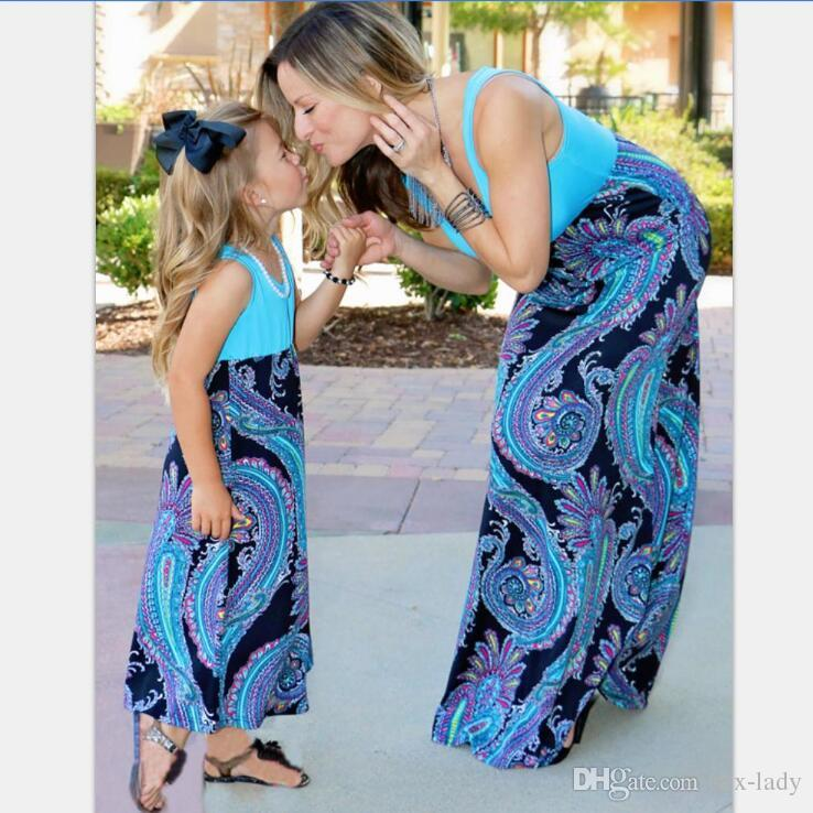 Mother Daughter Dress Beach Floral Long Dresses Family Matching Clothes Outfit