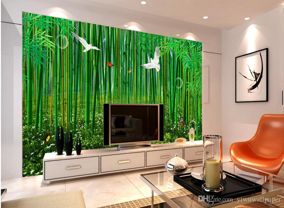 Home Decor Living Room Natural Art High Definition Bamboo Forest Hand  Painted Bamboo Fresh Background Wall Widescreen Wallpapers Widescreen  Wallpapers ...