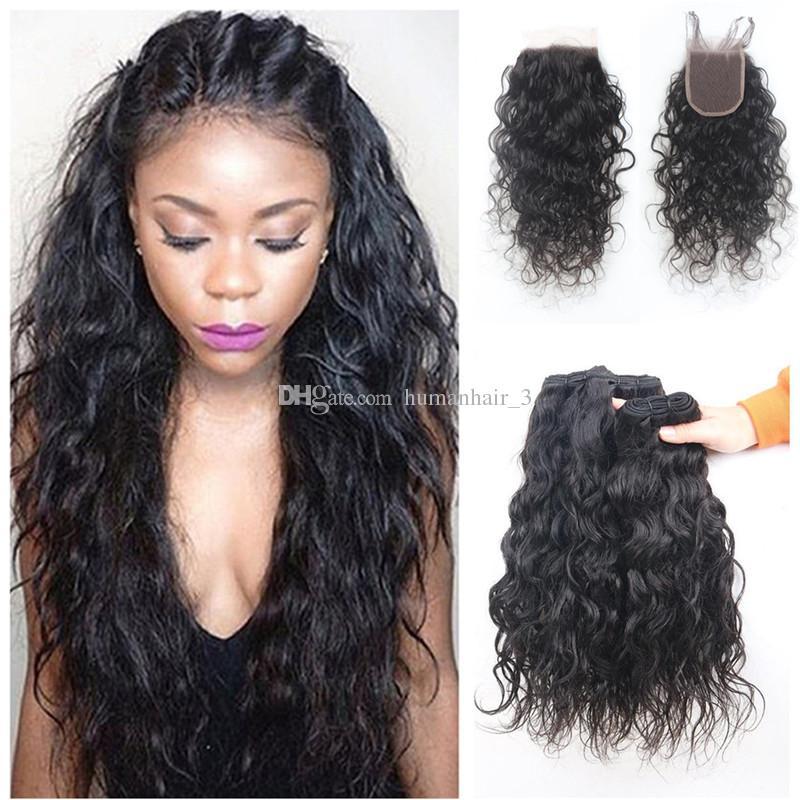 Paquetes de cabello humano malasio 3 con cierre de encaje Paquetes de cabello húmedo y ondulado con cierre de encaje Nudos blanqueados Tramas de cabello humano de onda de agua