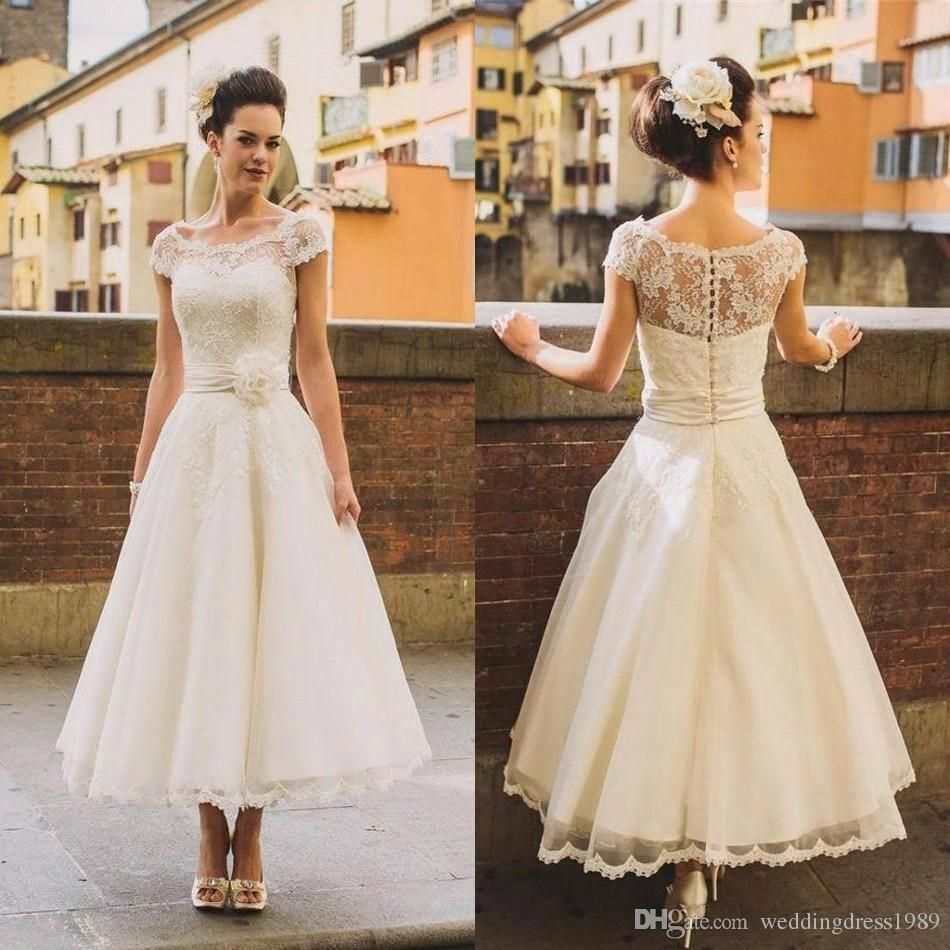 discount elegant beach 1950's style short wedding dresses sheer flower sash  lace cover button back tea length bridal gowns ball formal custom end of