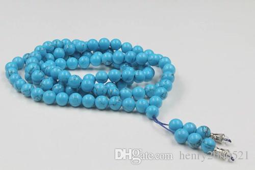 Per avere una reputazione di lunga data 100% Handmade Tibet Style Vintage Old Turquoise 108 Collana con perle di preghiera 8 mm Elimina le preoccupazioni