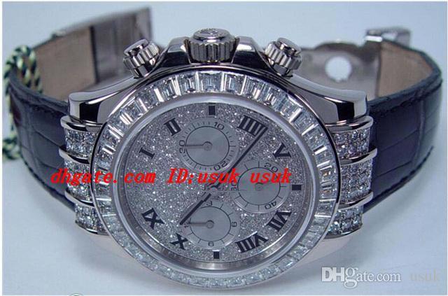 Роскошные наручные часы 18kt Белое золото Полная алмазная модель - 116599 TBR автоматические мужские часы мужские наручные часы