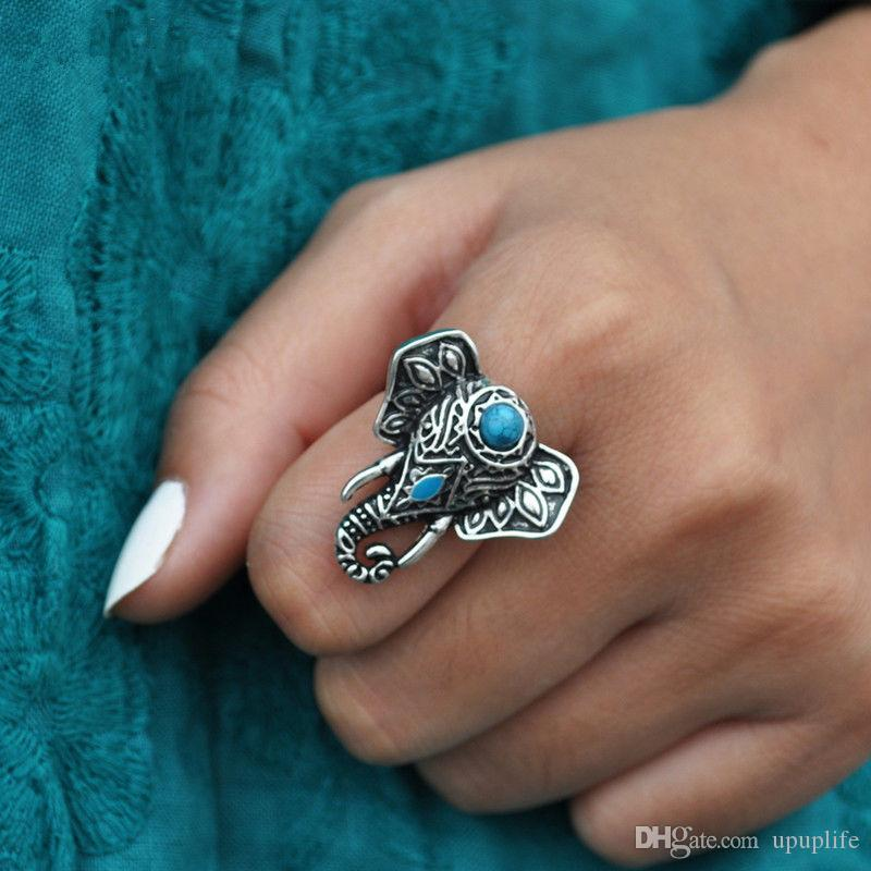 Silver Color Turquoise Ring for Women Boho Beach Vintage Turkish Punk Elephant Knuckle Ring