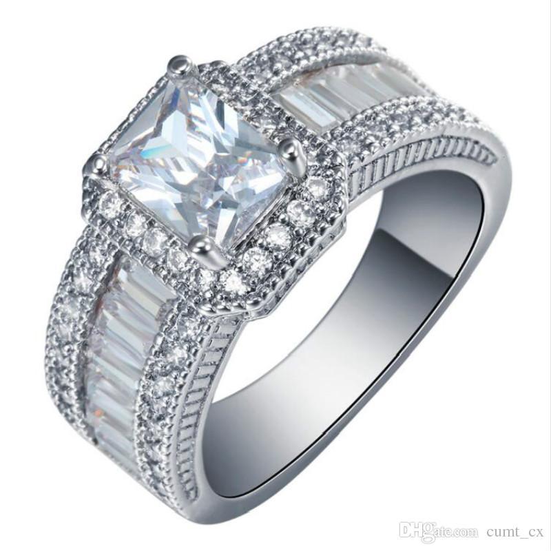 Promessa praça Anéis novo banhado a prata jóias tamanho grande 7 8 9 Branco Cubic Zircon mulheres Anel de Noivado