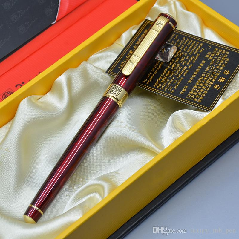 العلامة التجارية الفاخرة الفرنسية بيكاسو 902 العقيق الأحمر والأسود الكلاسيكية نافورة القلم مع اللوازم المكتبية التجارية كتابة السلس أعلى درجة هدية قلم حبر