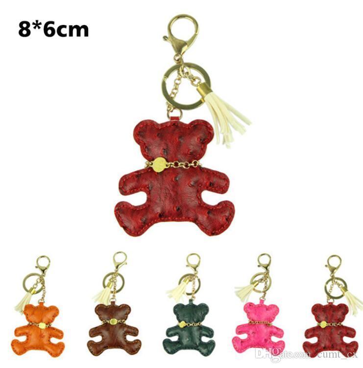 Delicada naranja novedad llavero del coche accesorios del bolso de la joyería encanto de cuero oso titular del anillo dominante joyería del mandril