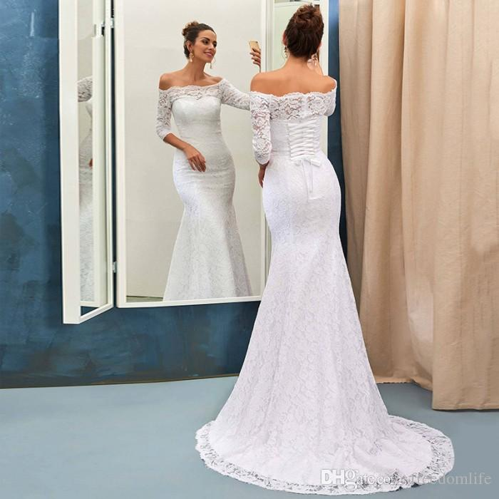 Elegant Country Western Wedding Dresses Mermaid Bateau Half Sleeve Modest  Wedding Reception Dress Full Lace Bridal Gowns Sweep Train Couture Wedding  ...