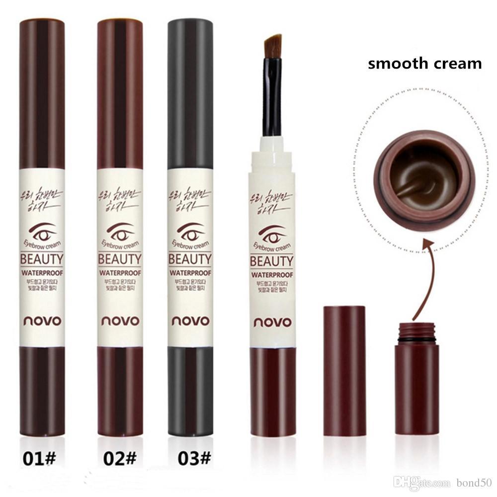 NOVO marca 3 colori crema sopracciglio mascara gel make up impermeabile sopracciglio gel durata a lungo trucco pen enhancer con pennello 5068