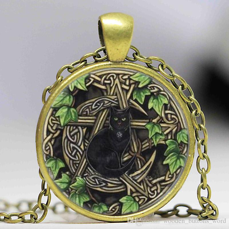 2019 Wicca Cat Photo Cabochon Glass Tibet Silver Chain Pendant Necklace  From Wooden_buttons_word, $1 78 | DHgate Com