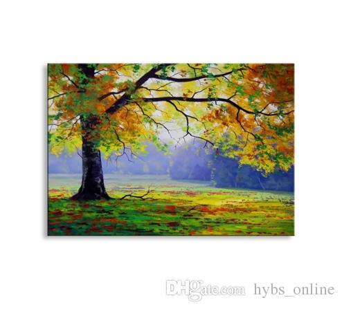 Çerçeveli Sonbahar ağacı, Saf Handpainted Modern Abctract Peyzaj Sanat Yağlıboya Yüksek Kaliteli Tuval Ev Duvar Dekor Için Çok boyutları
