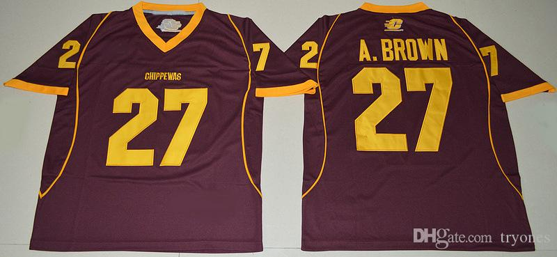 رجل سنترال ميشيغان chippewas أنطونيو براون كلية كرة القدم الفانيلة رخيصة مونون 27 أنطونيو براون مخيط قمصان كرة القدم