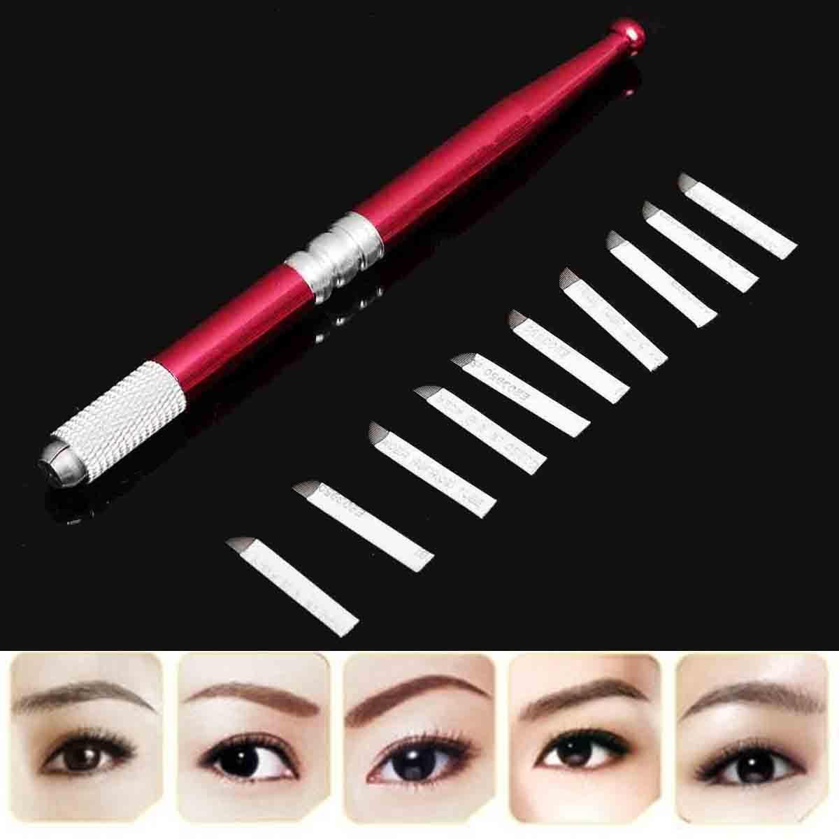 Wholesale-1pcs Embroidery Eyebrow Tattoo Manual Pen + 10pcs 7 Needle Eyebrow Microblading New Professional Tattoo Eyebrow Supply Kit