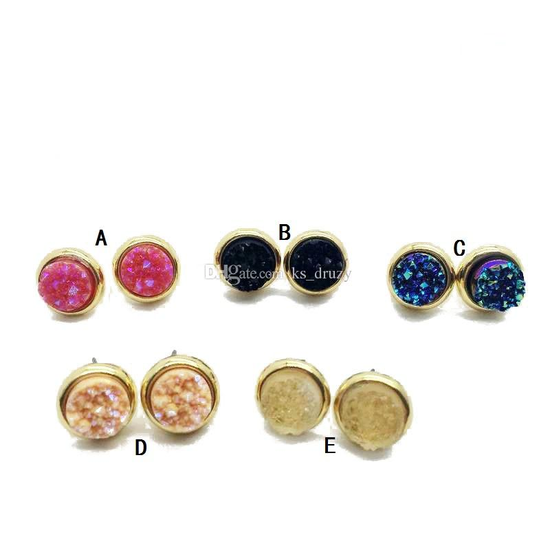 Fashion Round Lava Druzy Drusy Stone Stud Earrings New York fashion Crystal Earings gold color cute brand jewelry For women