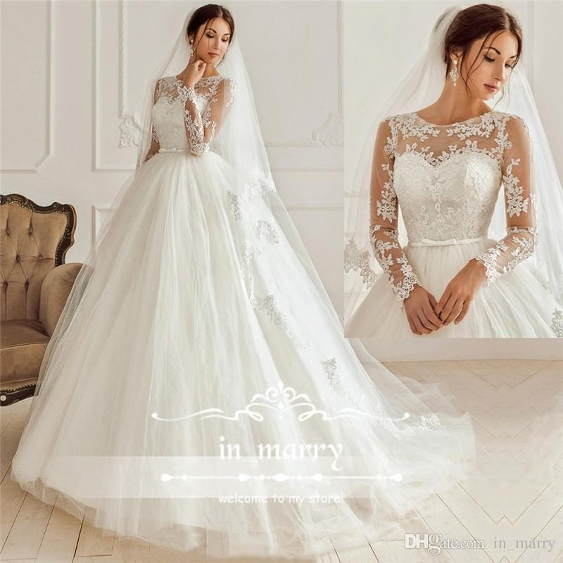 Exquisite Boho Beach Vintage Wedding Dresses 2017 Illusion Lace Long Sleeves A Line Scoop Tulle Country