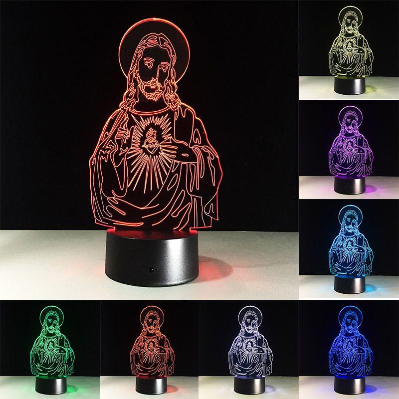 Presente de Páscoa Jesus Christ 3d Night Light Touch Colorido Lâmpada de Tabela Lâmpada Usb Acrílico Noite Luz Decoração de Casa Decoração Presentes