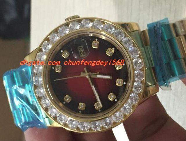 高級時計高品質メンズ36mm 18kゴールドレッドダイヤモンドダイヤルベゼルQuickset自動運動メンズウォッチ腕時計