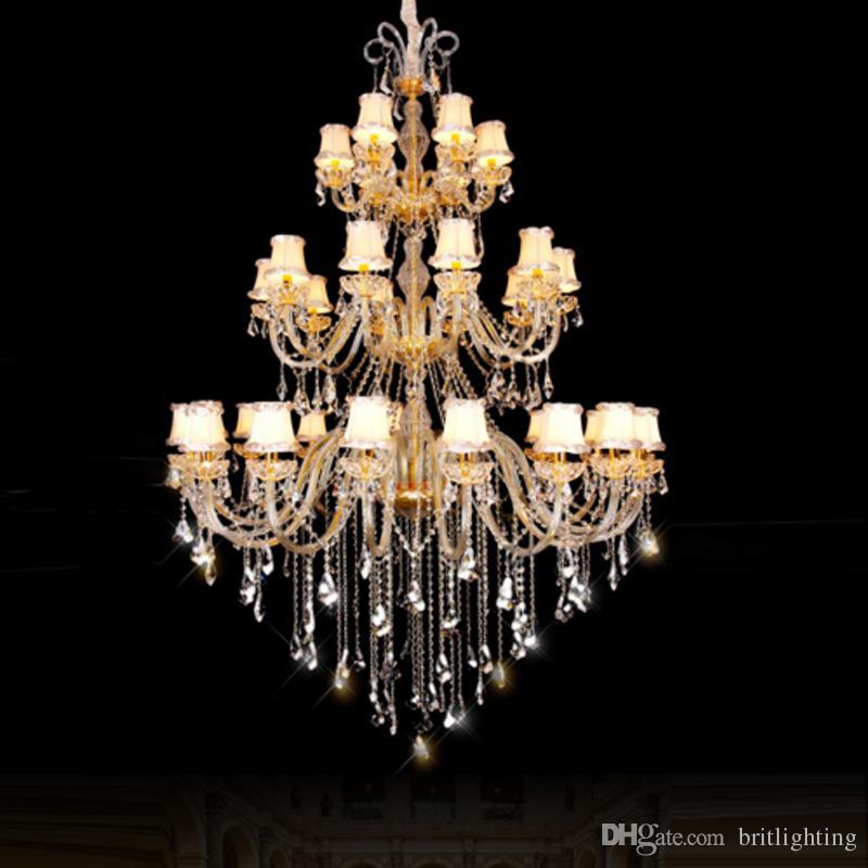 Üç katmanlı villa Büyük kristal Avize Işıkları otel salonu k9 kristal avize yatak odası lamba yemek odası kapalı kristal avize ışık