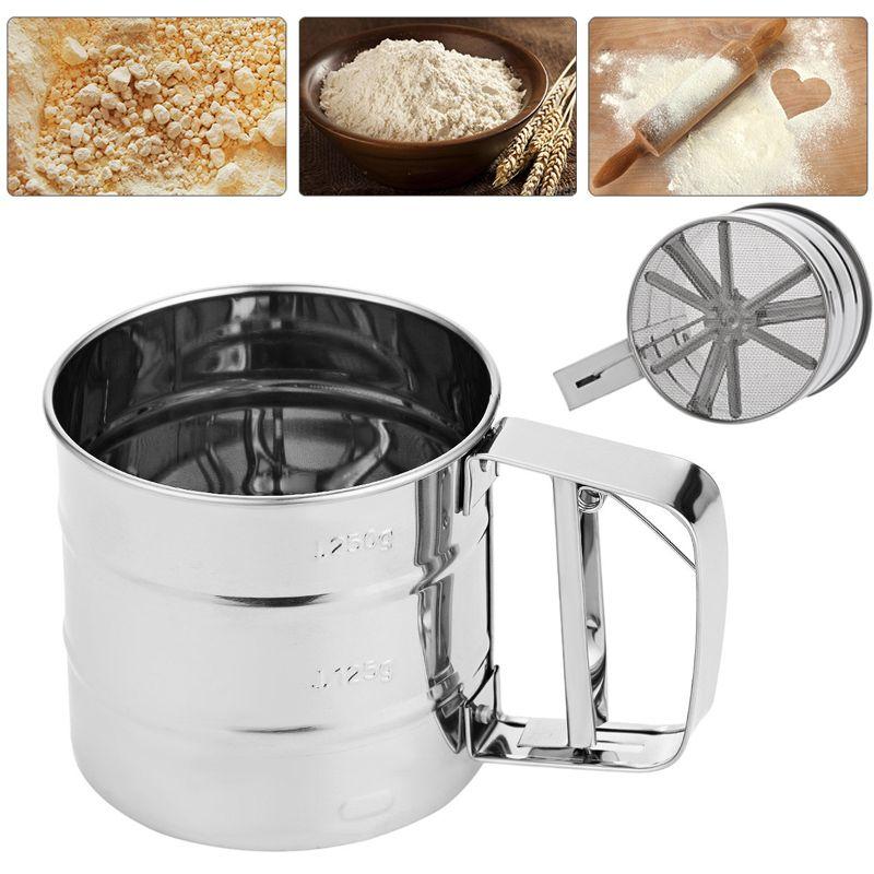 Stainless Steel Mesh Flour Sifter Mechanical Baking Icing Sugar Shaker Sieve Cup Screen Mesh Powder Flour Sieve Baking Tools