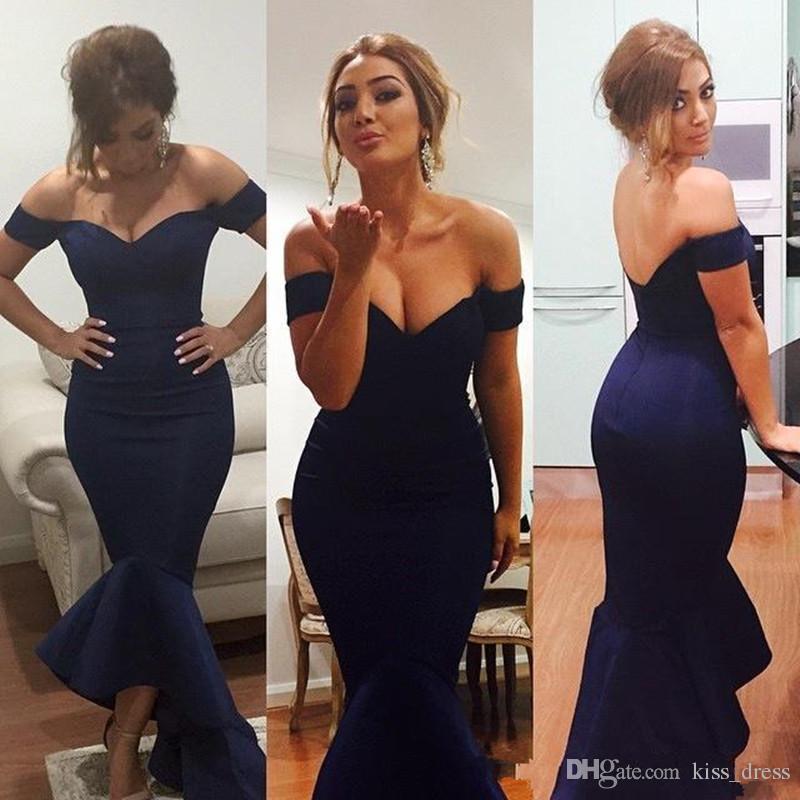 Abiti da sera lunghi blu scuro sexy Pieghe in taffettà Vendite calde Nuovi abiti formali su misura con scollo a V e scollo a spalla alto su misura P131