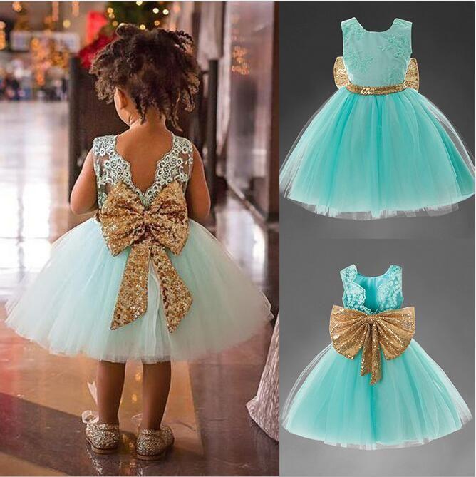 小売赤ちゃん女の子の大きな弓の背中の背景の背景の服子供のレースのスパンコールノースリーブのドレスかわいい女の子のイブニングウエディングパーティープリンセスドレス子供の布