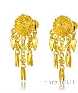 maravilhoso ouro amarelo cheio de flores w borlas womenearings (pfmcgy88)