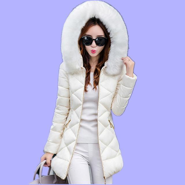 여자 겨울 재킷 새로운 대형 모피 칼라 후드 겨울 코트 여성 두꺼운 따뜻한 느슨한 파카 여성 자켓