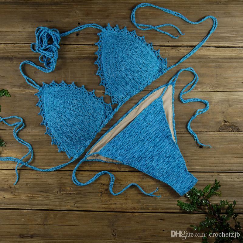 100% Handmade Crocheted Women's Clothing Swimwear Bikini Set Sexy boho chic Lined Padded crop top Bikini Set sky blue
