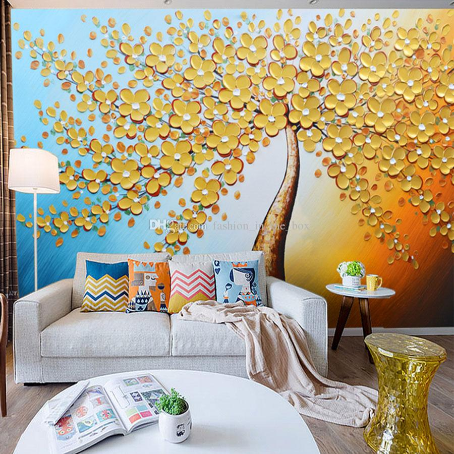 Knife Painting Wall Mural Golden Tree Wallpaper Custom 3d Wallpaper Art Hd Printing On Canvas Bedroom Hallway Office Hotel Living Room Decor Wallpaper