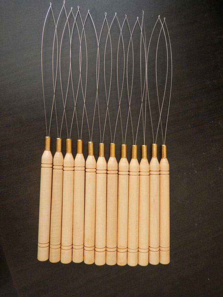 Ziehen Nadeln Holzgriff mit Edelstahl-Drahtschlaufe zieht Einfädler Tools Kit für Mikrokorn-Haar-Verlängerungen Großhandel Needles