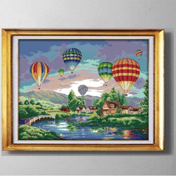 Palloncini colorati, FAI DA TE fatti a mano Punto croce Set cucito Kit di ricamo dipinti contati stampati su tela DMC 14CT / 11CT