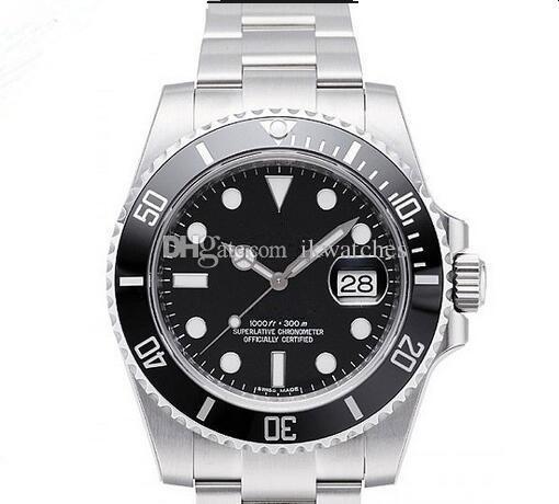 뜨거운 판매 망 시계 새로운 패션 스테인리스 시계 블랙 다이얼 세라믹 베젤 및 사파이어 손목 시계 096