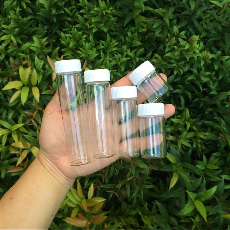 Glass Bottles Plastic Cap White Screw Transparent Glass Vials Plastic Bottles 15ml 25ml 40ml 50ml 60ml Jars Bottles3