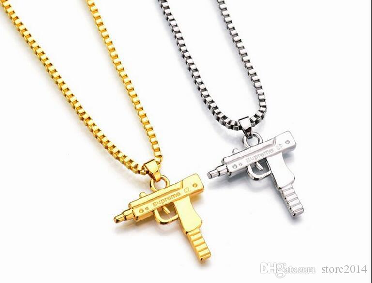 New Uzi Corrente de Ouro Hip Hop Longo Colar de Pingente de Homens Mulheres Marca de Moda Arma Pistola Pingente Maxi Colar HIPHOP Jóias
