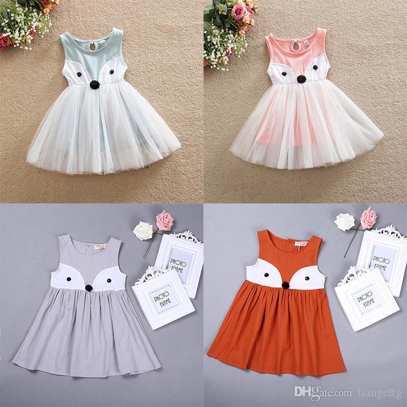 Robe de fille de dessin animé Fox une pièce robe sans manches en dentelle de coton enfants jupe 4 couleurs 5 tailles 2-7T