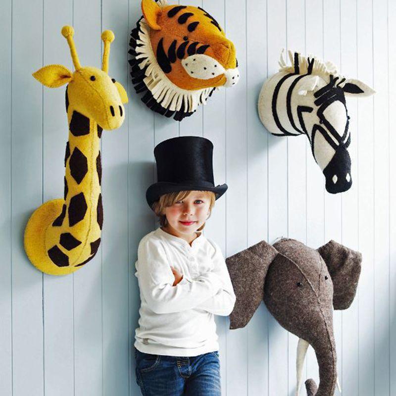 Handmade 3D Animal Head Toys Wall Decoration Flamingo/Giraffe/Fox/Tiger/Zebra/Elephant Stuffed Doll Baby Room Wall Hanger Artwork Gifts