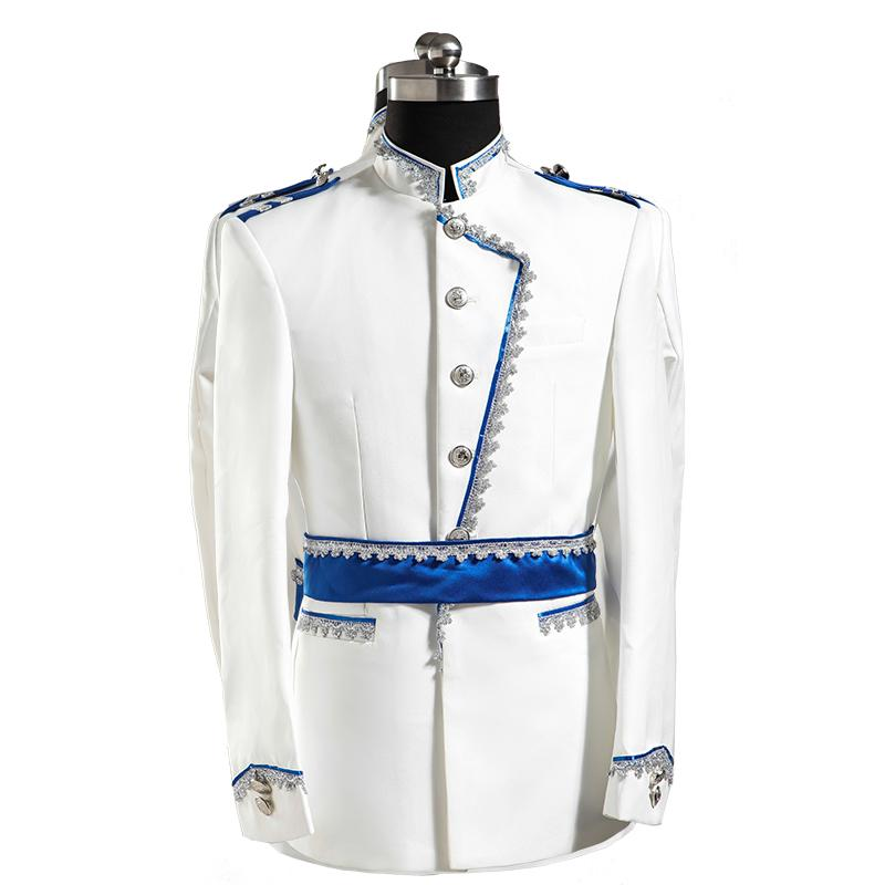 Wholesale- 2015 costume sexy costume Fashion royal clothes set male formal dress costume white for singer dancer star nightclub