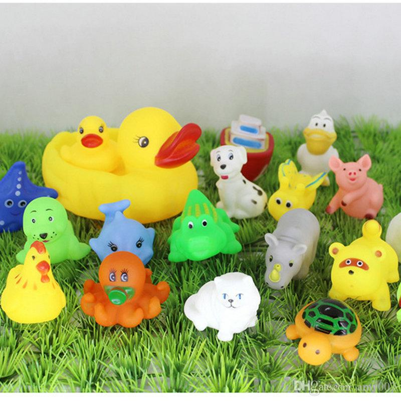 DHL Baby Bath Water Toy Ship plane car Mini Sounds animal Yellow Rubber Ducks Kids Small Octopus elephant Toy Children Swiming Beach Gifts
