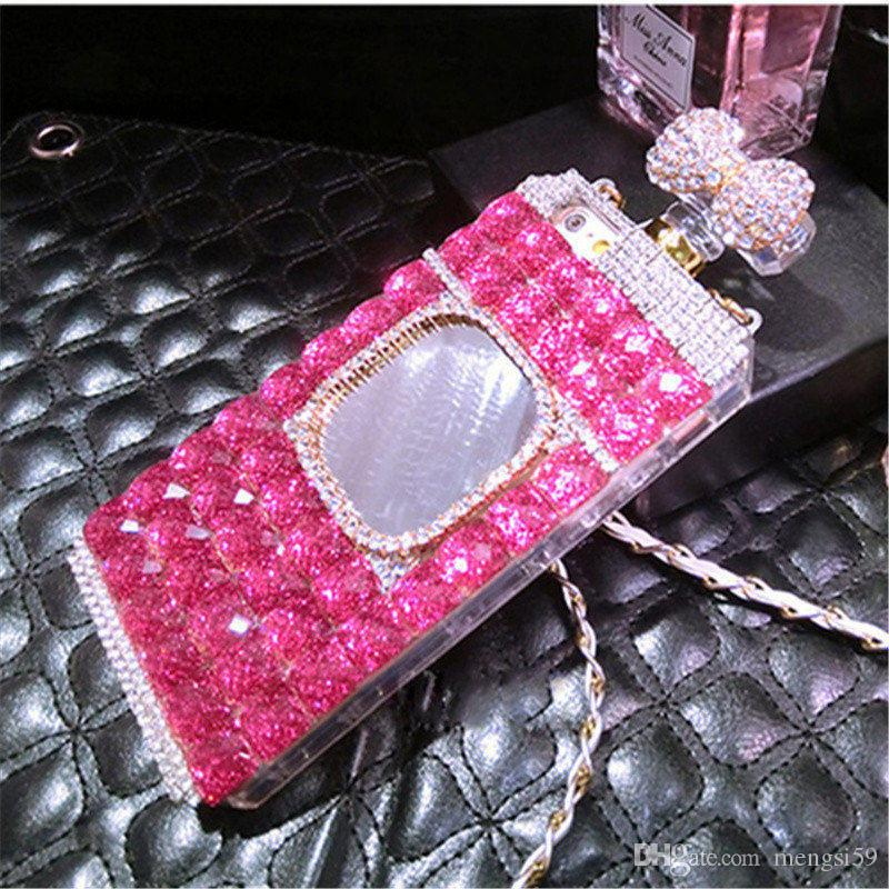 10pcs Luxury Diamond Perfume Bottle Bow Rose Mirror chain case for iphone 5 5s se 6 6s 7 plus Samsung galaxy j5 2017
