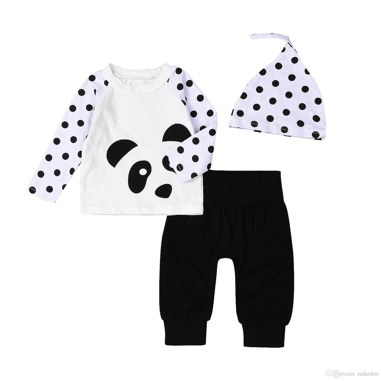 2018 Mikrdoo Hot Baby Clothes Suit Kids Boy Girls Panda Dot Tshirt
