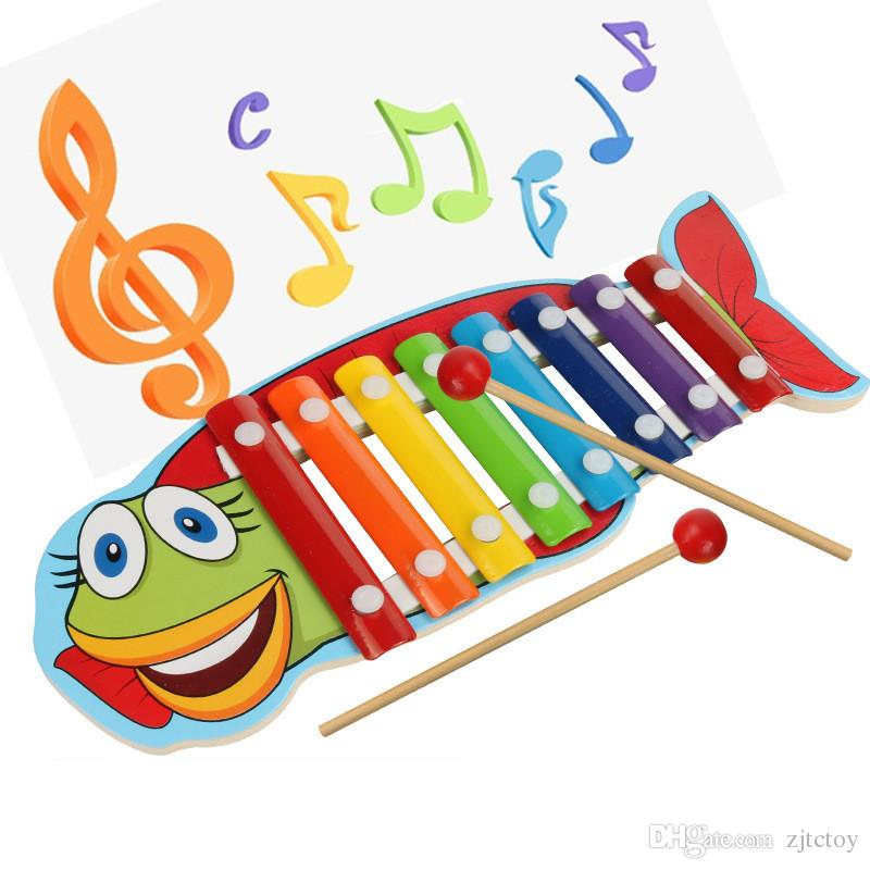 Baby's Wooden Musical Toys Trailer 8-Note Xylophone Children Hand Knocking Piano Crocodile/Turtles/Lobster/Fish Cartoon Music Instrument