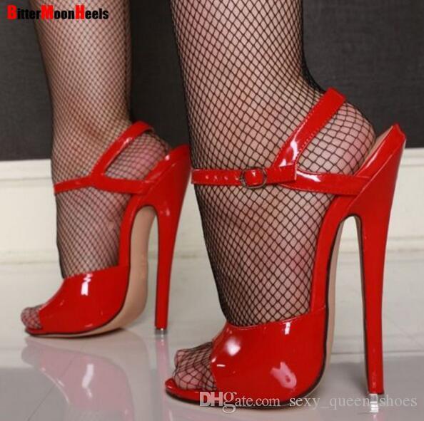 Trasporto libero 2018 nuovi 7 pollici sandali unisex sexy cinturino alla caviglia scarpe col tacco alto tacchi estivi donne fashion party prom scarpe plus big size 18 cm