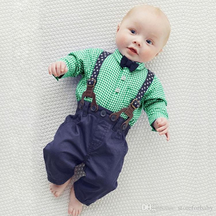 spring baby boy plaid shirts belt pants boy clothes sets autumn ...