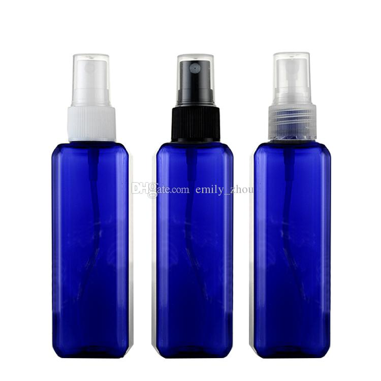 10pcs 100ml empty sprayer blue PET square bottles,refillable setting spray plastic container PET,deodorant plastic spray white bottles