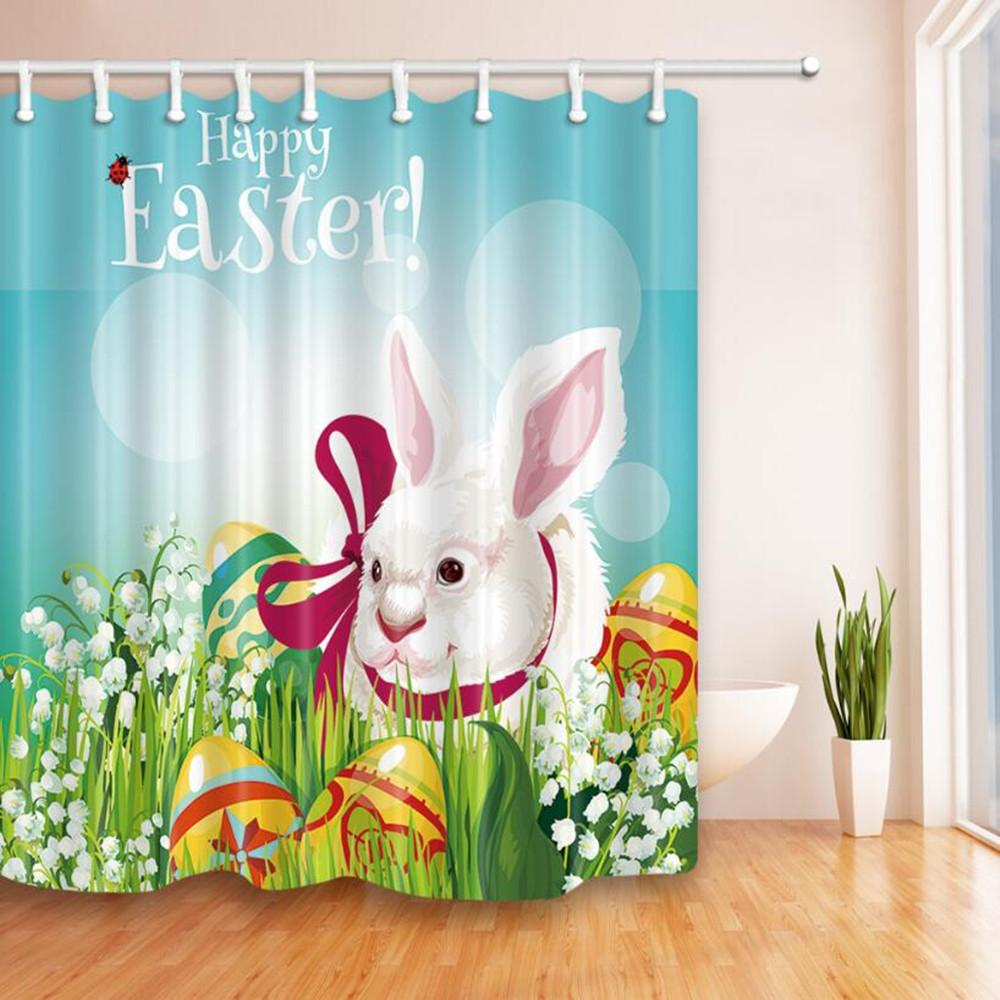 Polyester Shower Curtain Easter Day Theme Waterproof Fabric Sheer Bath Mat rug