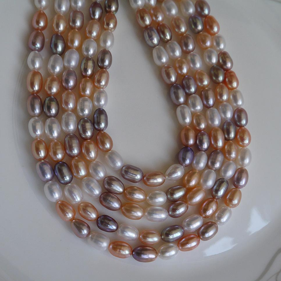 2017 new DIY beads Mix colour Grain shape Natural fresh water pearl necklace 6--7mm loose beads of pearl accessories wholesale Free shipping