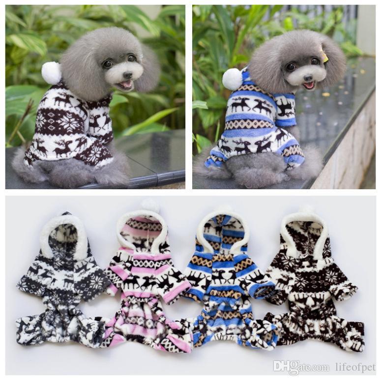 Tasarımcı Yumuşak Kış Sıcak Pet Köpek Giysileri Pet Giyim Geyik Pamuk Yavru Köpekler Ceket Kış Ceket Küçük Köpekler Sweatshirt Kız Için