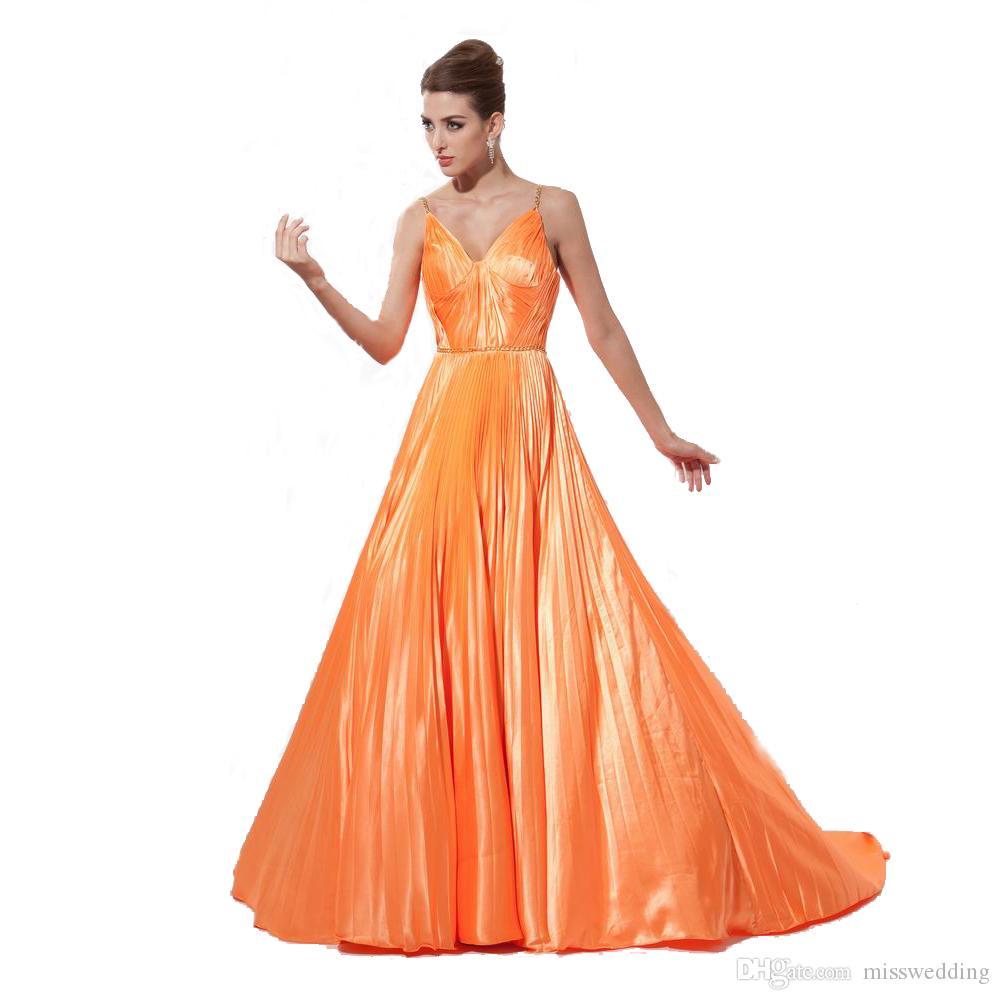 Attractive Ladies Long Evening Dress Eren Jossie Thin Chain Straps A-Line Style 2017 V-Neck Vestido De Novia