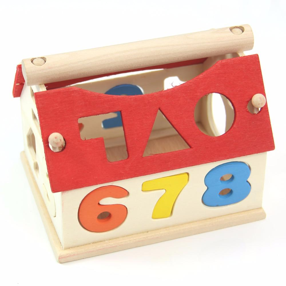 Fashion Kid Baby Wooden Digital Number House Building Toy Educational Block