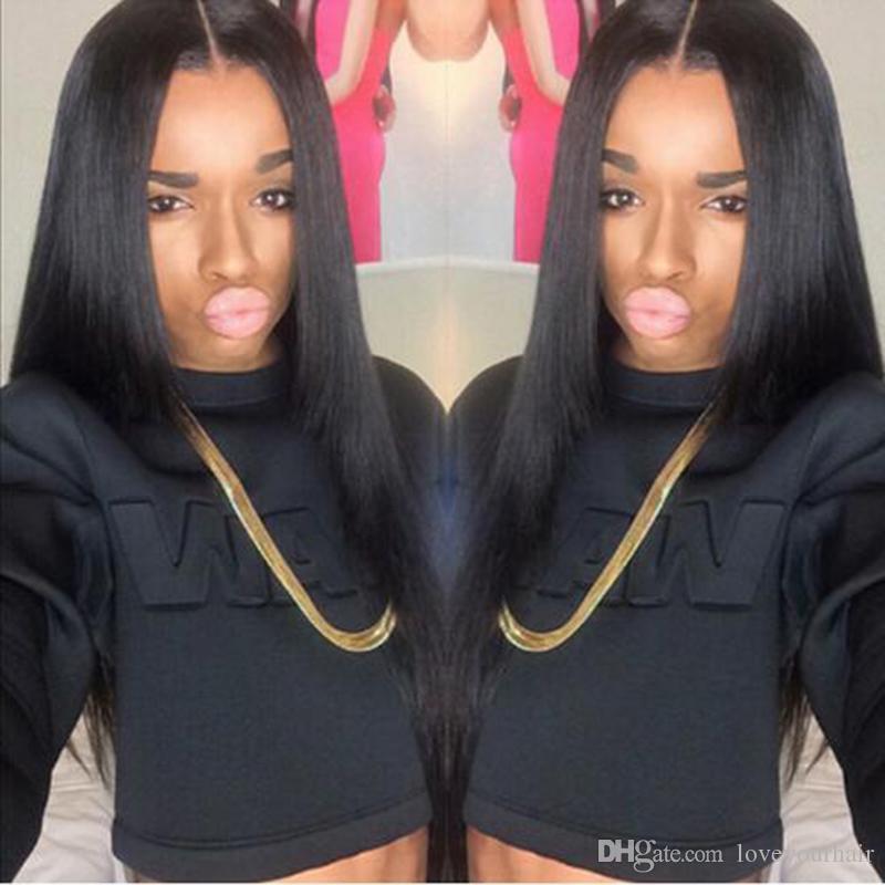 Venta caliente larga recta peluca simulación brasileña pelucas de cabello humano largo sedoso pelucas rectas para mujeres negras